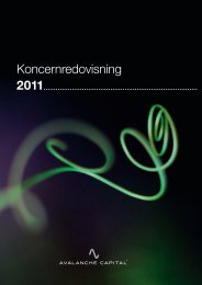 Årsredovisning 2011 (PDF) - Avalanche Capital