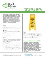 PrevenTing SliPS, TriPS, and FallS - Health & Safety Ontario
