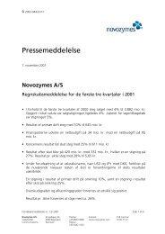 Pressemeddelelse - Novozymes