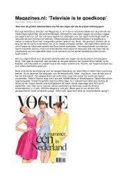 Magazines.nl: 'Televisie is te goedkoop'