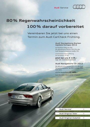 80 % Regenwahrscheinlichkeit 100 % darauf vorbereitet - Audi