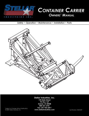 SI Series Container Carrier Manual - Stellar Industries, Inc.