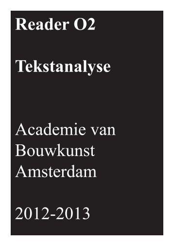 Reader O2 Tekstanalyse Academie van Bouwkunst Amsterdam ...