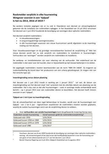 Rookmelders verplicht in alle huurwoningen vanaf 1 januari 2013
