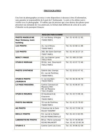 PHOTOGRAPHES Une liste de photographes est ... - France Service