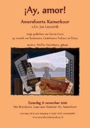 Programmaboekje - Het Amersfoorts Kamerkoor
