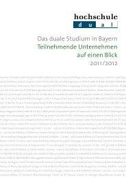 Das duale Studium in Bayern Teilnehmende ... - Hochschule dual