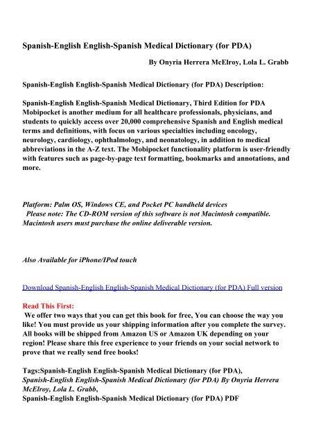 Spanish-English English-Spanish Medical Dictionary (for PDA)