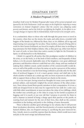 Jonathan swift's a modest proposal pdf
