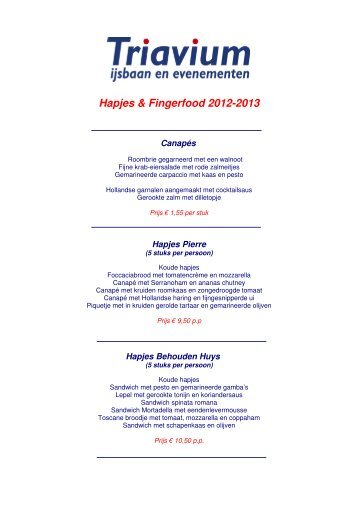 Hapjes & Fingerfood 2012-2013 - Triavium