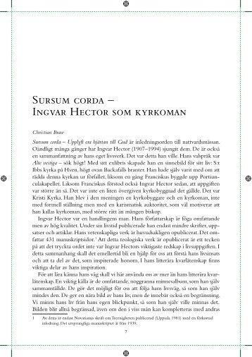Sursum corda – Ingvar Hector som kyrkoman - GAudete