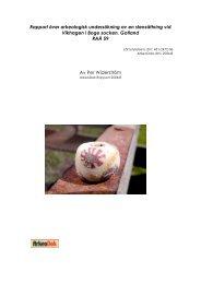 Rapport över arkeologisk undersökning av en ... - ArkeoDok