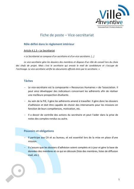 Fiche De Poste Vice Secretariat Ville Inventive
