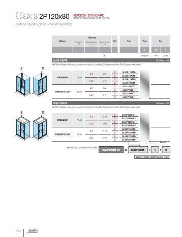 glax 3 2p120x80 VeRsiON sTaNDaRD porte 2P (la paroi ... - Novellini