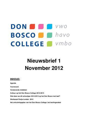 Nieuwsbrief 1 November 2012 INHOUD - Don Bosco College