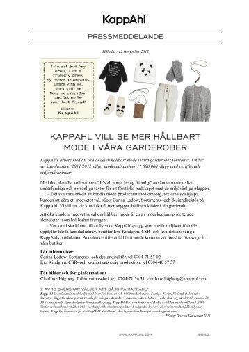KappAhls arbete med att öka andelen hållbart mode i våra ...