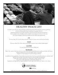 HEALTHY SNACK LIST - BJC School Outreach