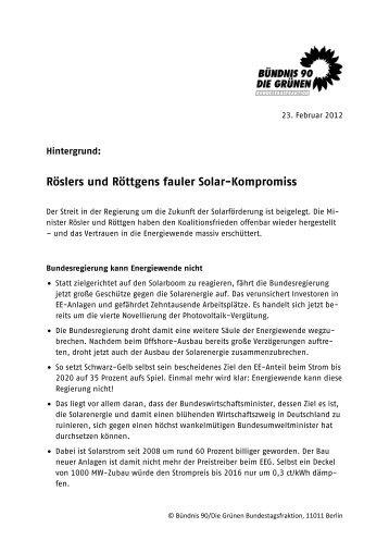 Röslers und Röttgens fauler Solar-Kompromiss - Bündnis 90/Die ...