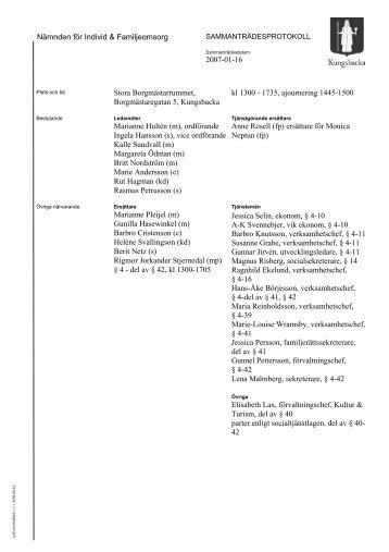 Nämnden för Individ & Familjeomsorg 2007-01-16 Stora ...