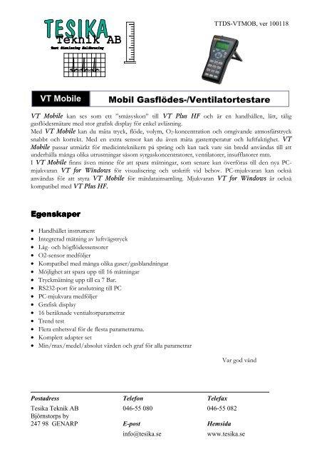 VT Mobile datablad - Tesika Teknik AB