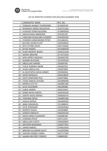 List of Admitted students, 2012/2013 Academic Year - Panaf Ideas