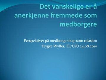 Hovedinnlegg ved professor Trygve Wyller (UiO)