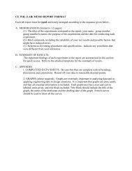 CE 354L (LAB) MEMO REPORT FORMAT Each lab report must be ...