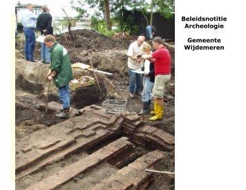 Beleidsnotitie Archeologie Gemeente Wijdemeren