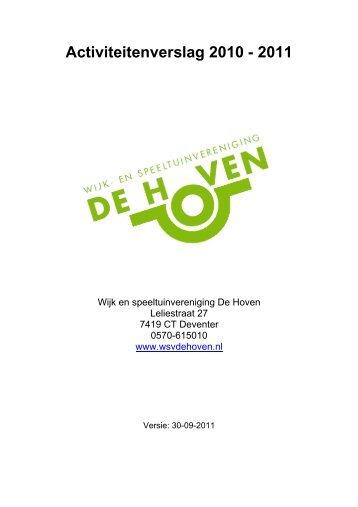 Activiteitenverslag WSV de Hoven 2010-2011