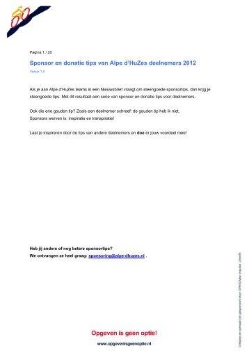 Sponsor en donatie tips van Alpe d'HuZes deelnemers 2012