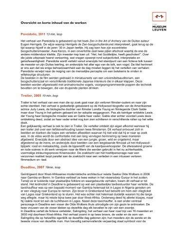 Overzicht en korte inhoud van de werken.pdf - Prezly