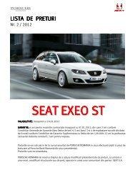 Lista de pret in format PDF - SEAT Romania