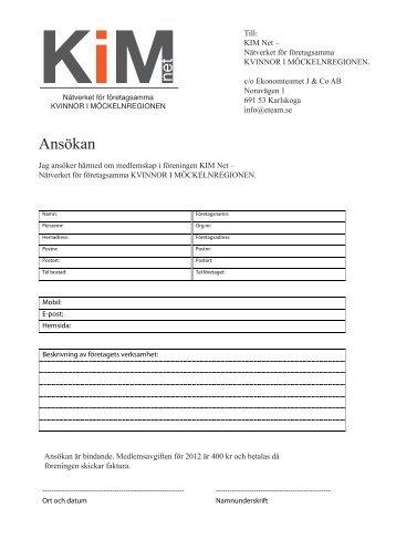 Blankett för ansökan om medlemsskap i KiM net