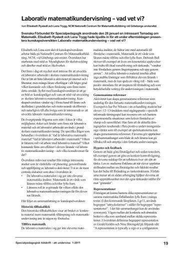 Laborativ matematikundervisning – vad vet vi? - SFSP