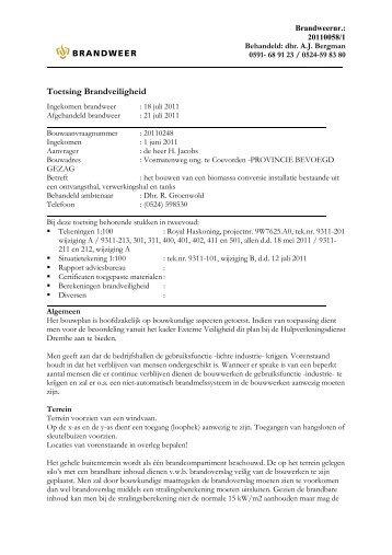 advies brandweer - Provincie Drenthe