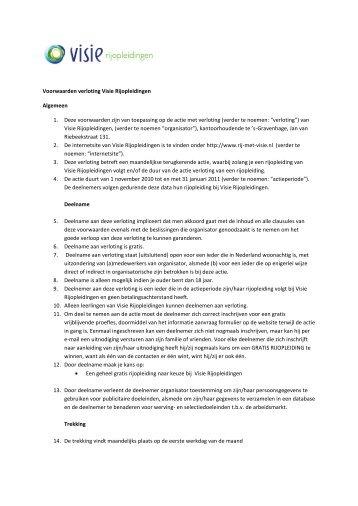 Voorwaarden verloting Visie Rijopleidingen Algemeen 1. Deze ...