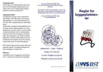 Regler for byggepladstavler - El- og VVS/BST
