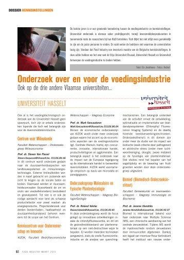 Onderzoek over en voor de voedingsindustrie - ETRO - Vrije ...