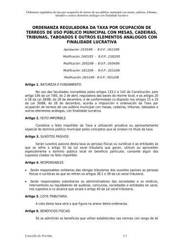 ii 05. taxa ocupacion con sillas via publica - Concello do Porriño