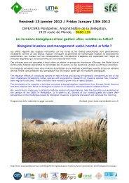 Vendredi 13 janvier 2012 / Friday January 13th 2012 CEFE/CNRS ...