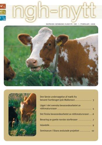 Den første undersøgelse af mælk fra bevaret Sortbroget ... - NordGen