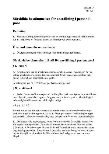 Särskilda bestämmelser för anställning i personalpool - OFR