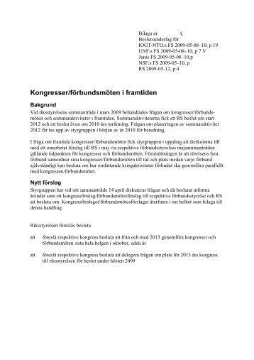 Kongresser/förbundsmöten i framtiden
