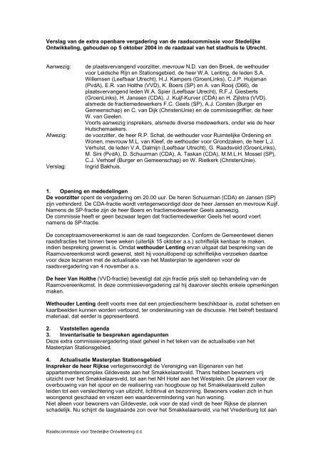 Verslag van de extra openbare vergadering van ... - Gemeente Utrecht