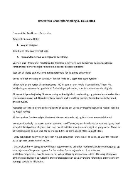 Referat fra Generalforsamling d. 14.03.2013 - No Rideklub