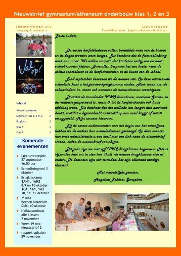 Nieuwsbrief vwo onderbouw - Lyceum Ypenburg