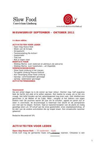 Nieuwsbrief september-oktober 2011 - Slow Food Nederland