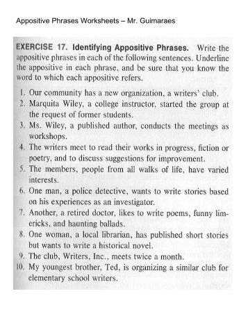 Appositives Worksheet. Precommunity Printables Worksheets