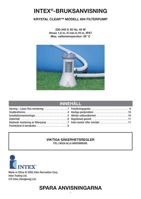 Intex Pool vakuum krok upp