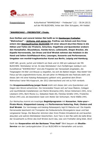 """""""WAHRSCHAU! – Freibeuter"""" (12. - 30.04.2013) - Freifrau von ..."""